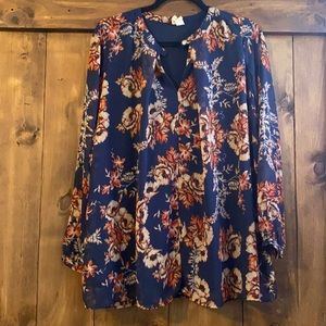 Woman's long sleeve floral blouse